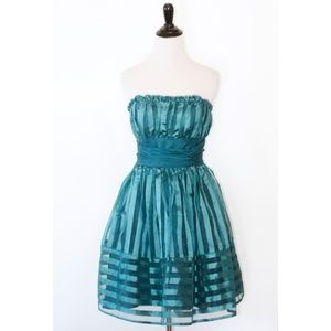 Betsey Johnson Teal Strapless Party Dress 6
